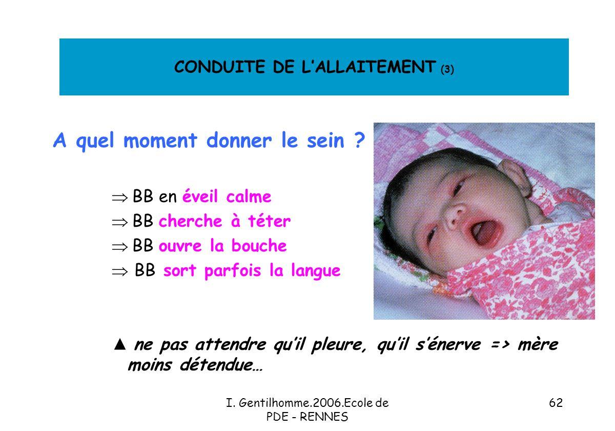 CONDUITE DE L'ALLAITEMENT (3)