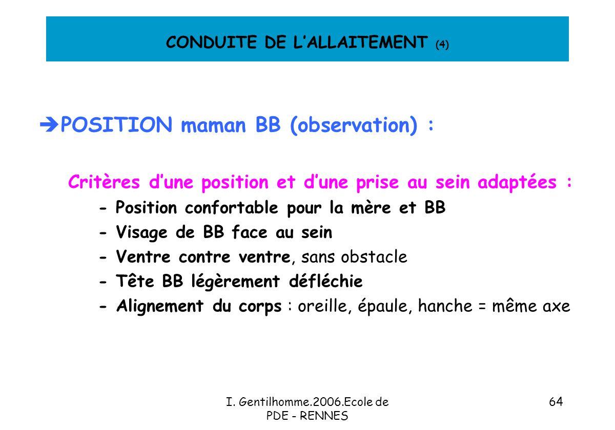 CONDUITE DE L'ALLAITEMENT (4)