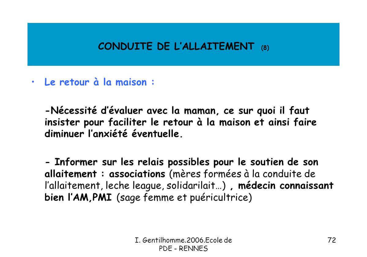CONDUITE DE L'ALLAITEMENT (8)