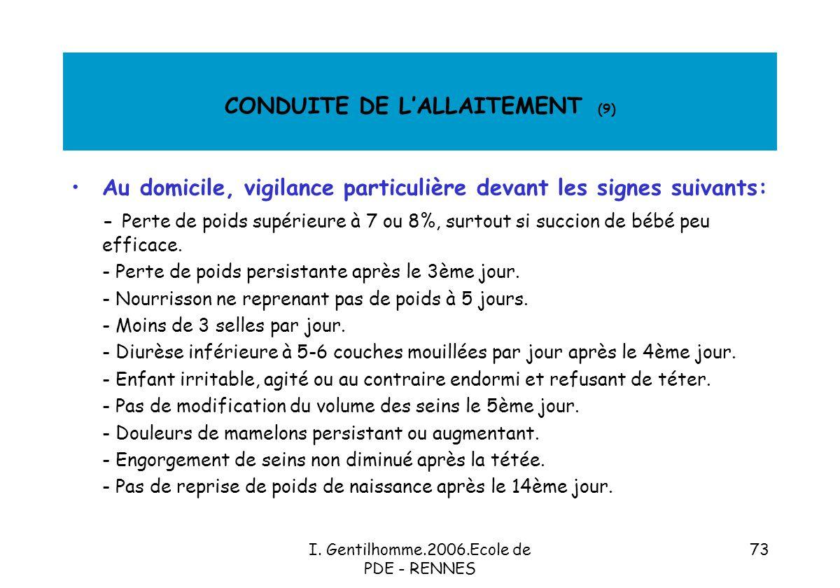 CONDUITE DE L'ALLAITEMENT (9)