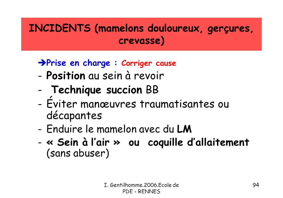INCIDENTS (mamelons douloureux, gerçures, crevasse)