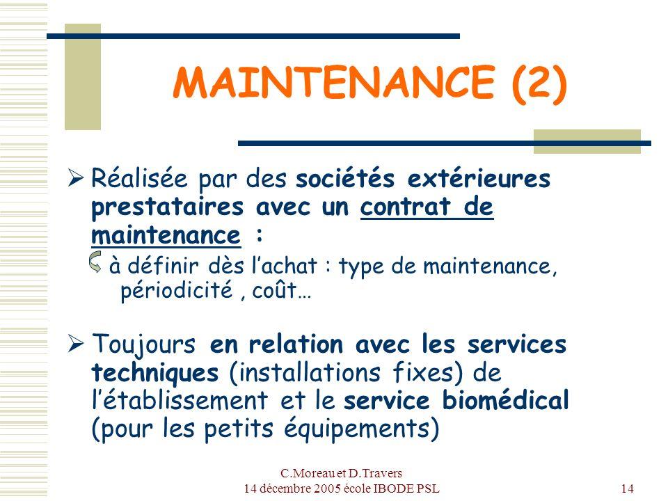 C.Moreau et D.Travers 14 décembre 2005 école IBODE PSL