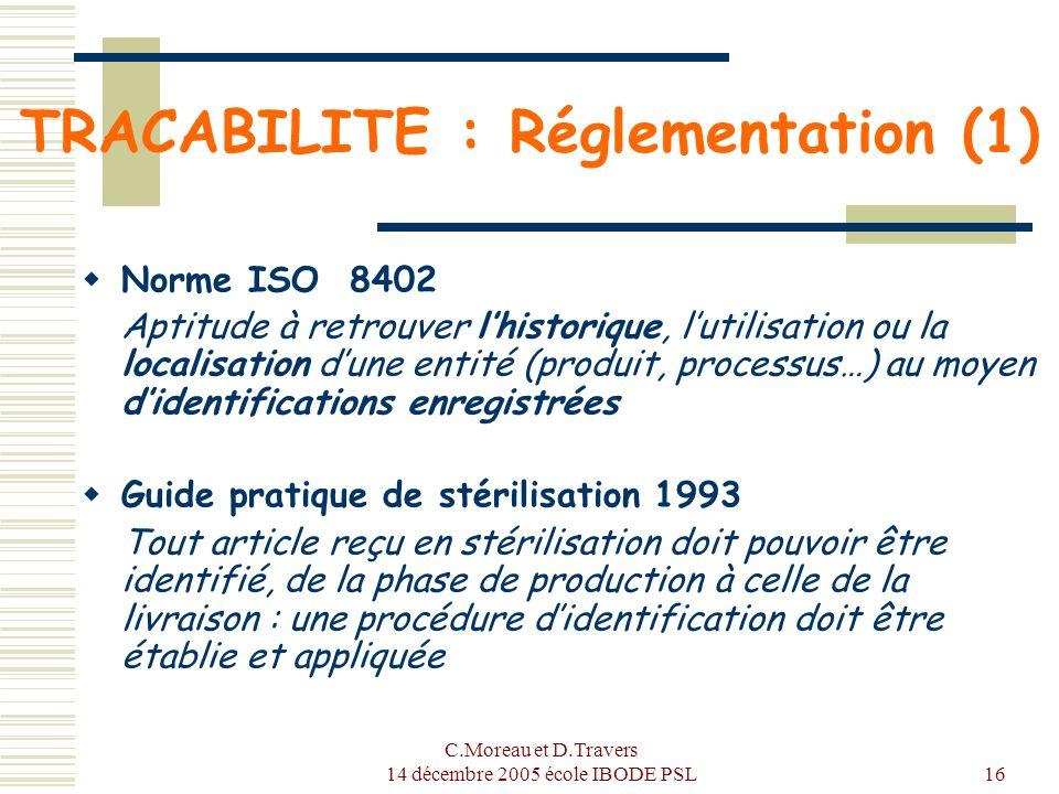 TRACABILITE : Réglementation (1)
