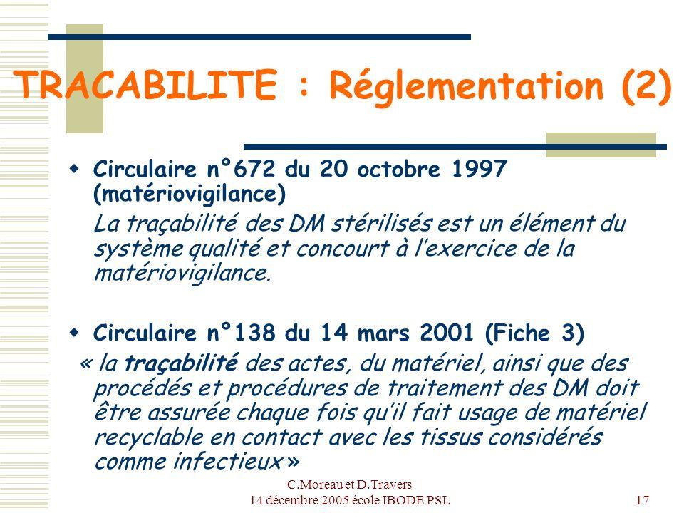 TRACABILITE : Réglementation (2)