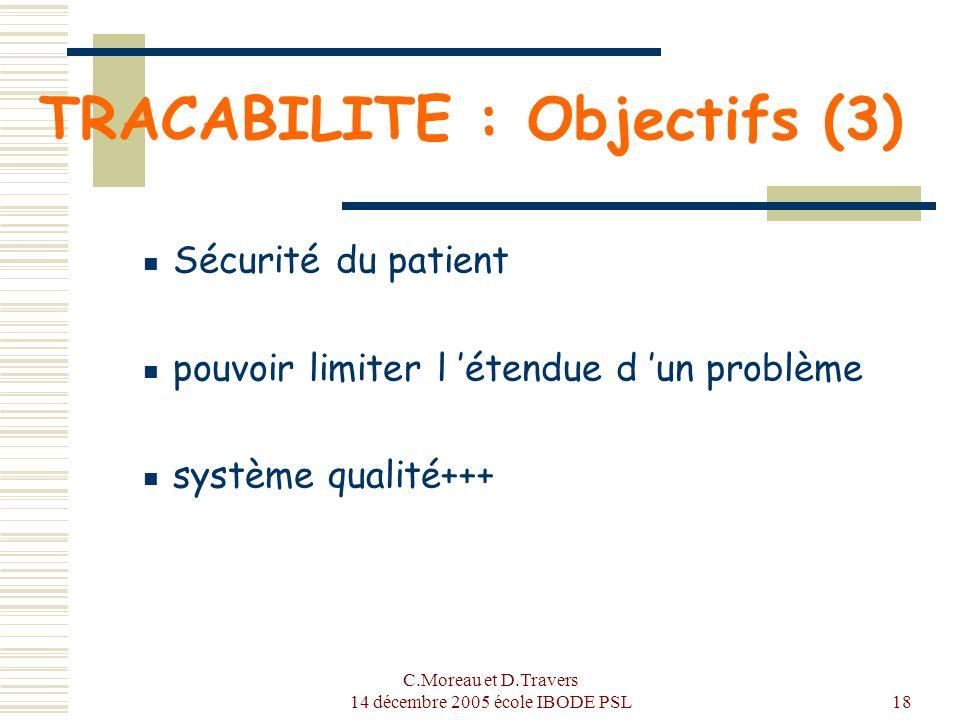 TRACABILITE : Objectifs (3)
