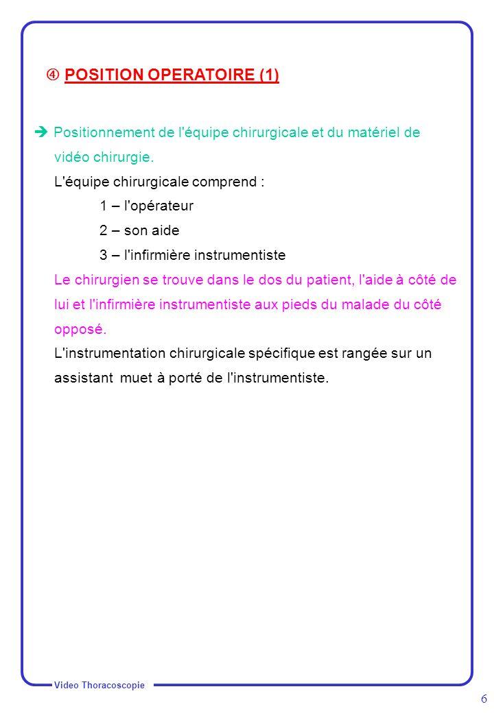  POSITION OPERATOIRE (1)