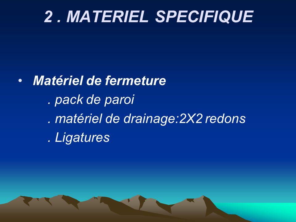 2 . MATERIEL SPECIFIQUE Matériel de fermeture . pack de paroi