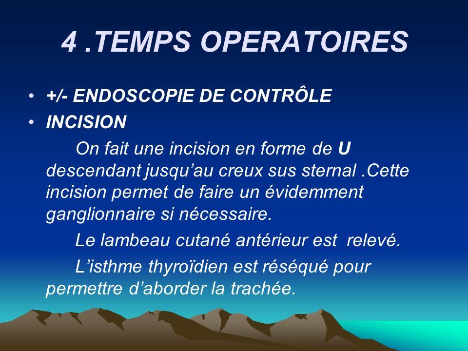 4 .TEMPS OPERATOIRES +/- ENDOSCOPIE DE CONTRÔLE INCISION