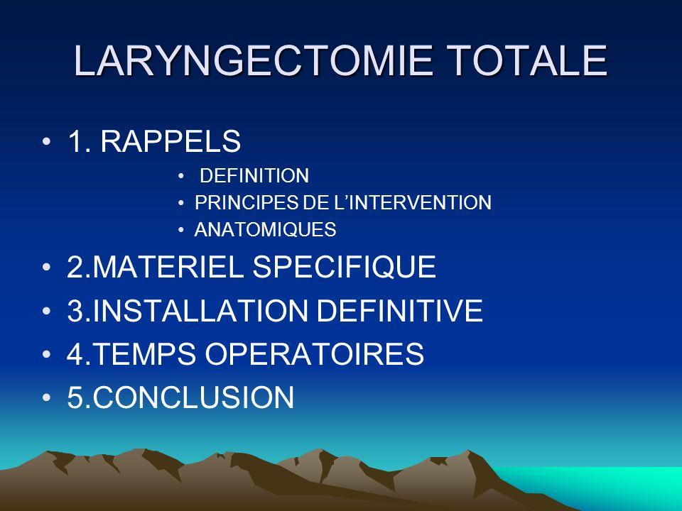 LARYNGECTOMIE TOTALE 1. RAPPELS 2.MATERIEL SPECIFIQUE