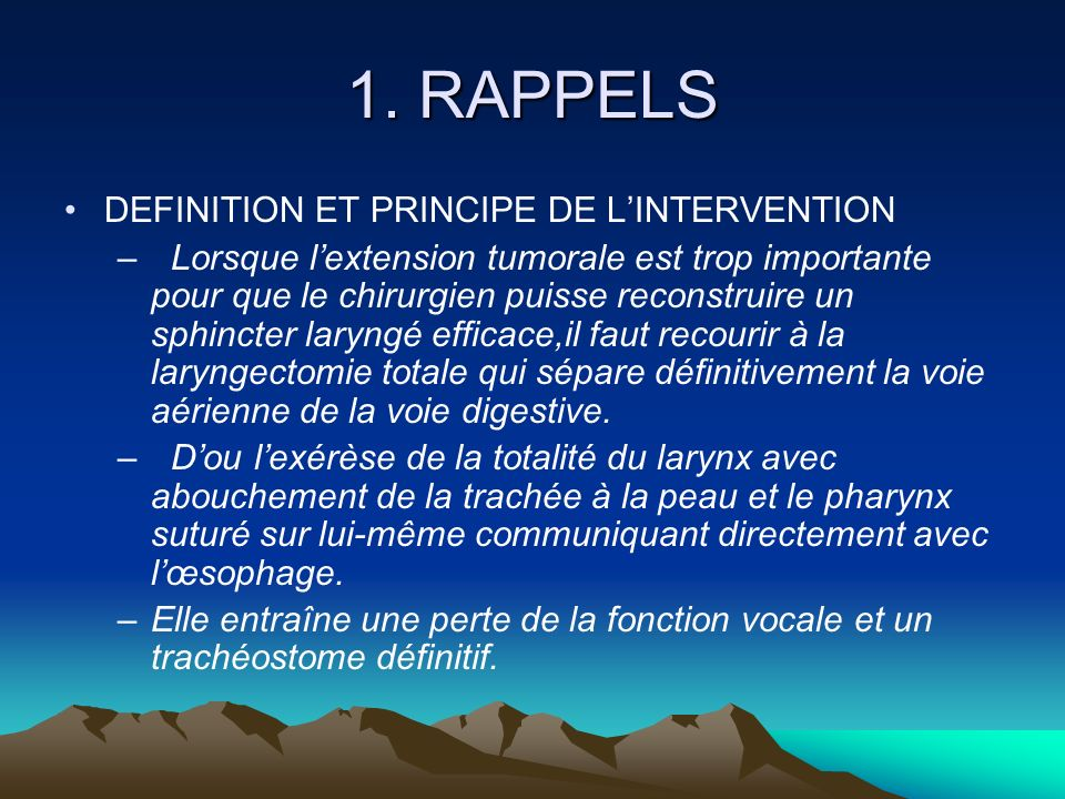 1. RAPPELS DEFINITION ET PRINCIPE DE L'INTERVENTION