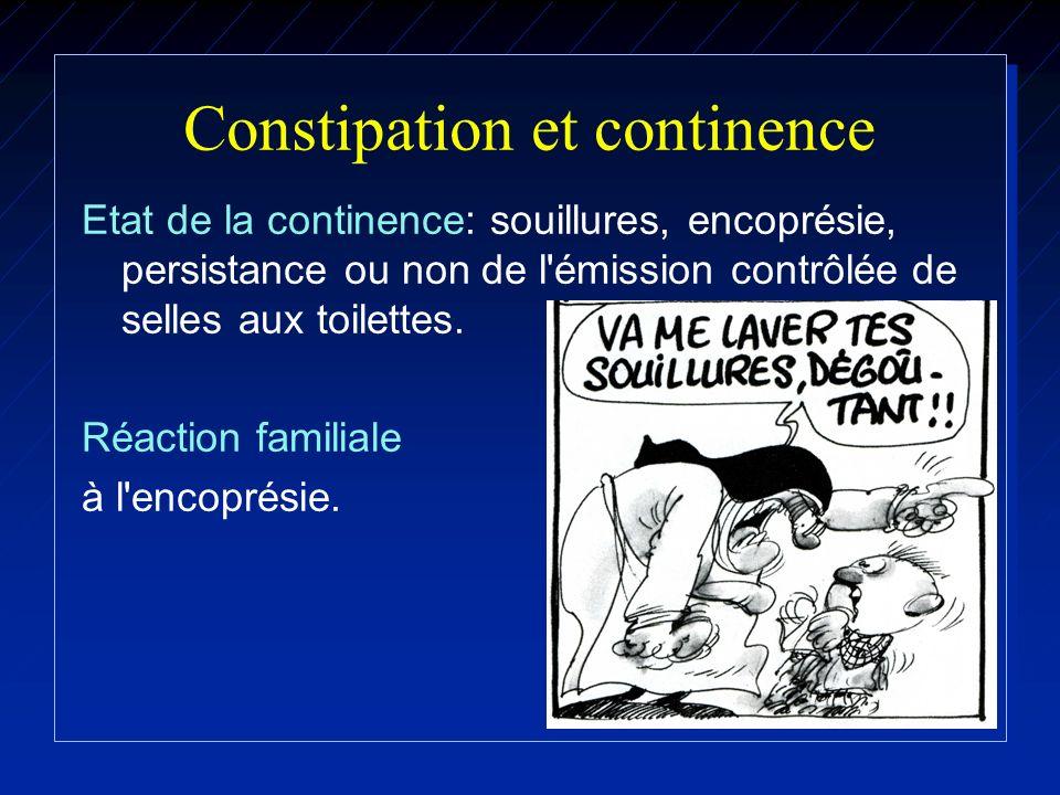Constipation et continence