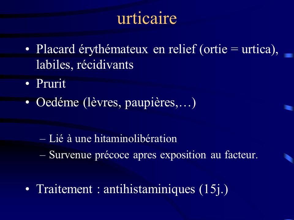 urticaire Placard érythémateux en relief (ortie = urtica), labiles, récidivants. Prurit. Oedéme (lèvres, paupières,…)