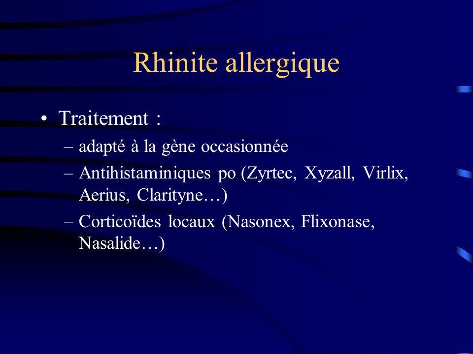 Rhinite allergique Traitement : adapté à la gène occasionnée