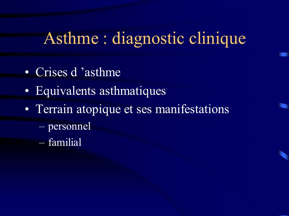 Asthme : diagnostic clinique