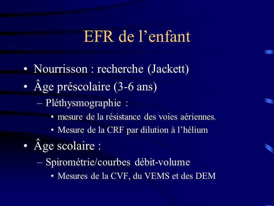 EFR de l'enfant Nourrisson : recherche (Jackett)