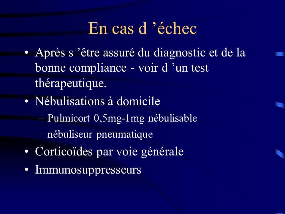 En cas d 'échec Après s 'être assuré du diagnostic et de la bonne compliance - voir d 'un test thérapeutique.