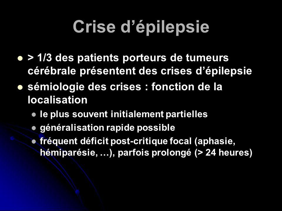 Crise d'épilepsie > 1/3 des patients porteurs de tumeurs cérébrale présentent des crises d'épilepsie.