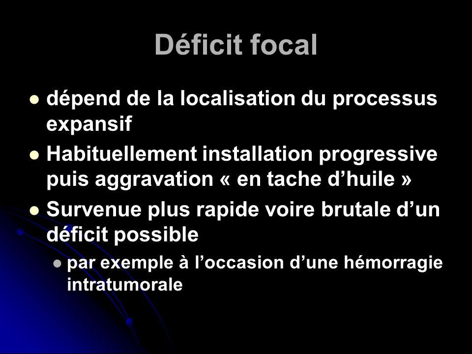 Déficit focal dépend de la localisation du processus expansif
