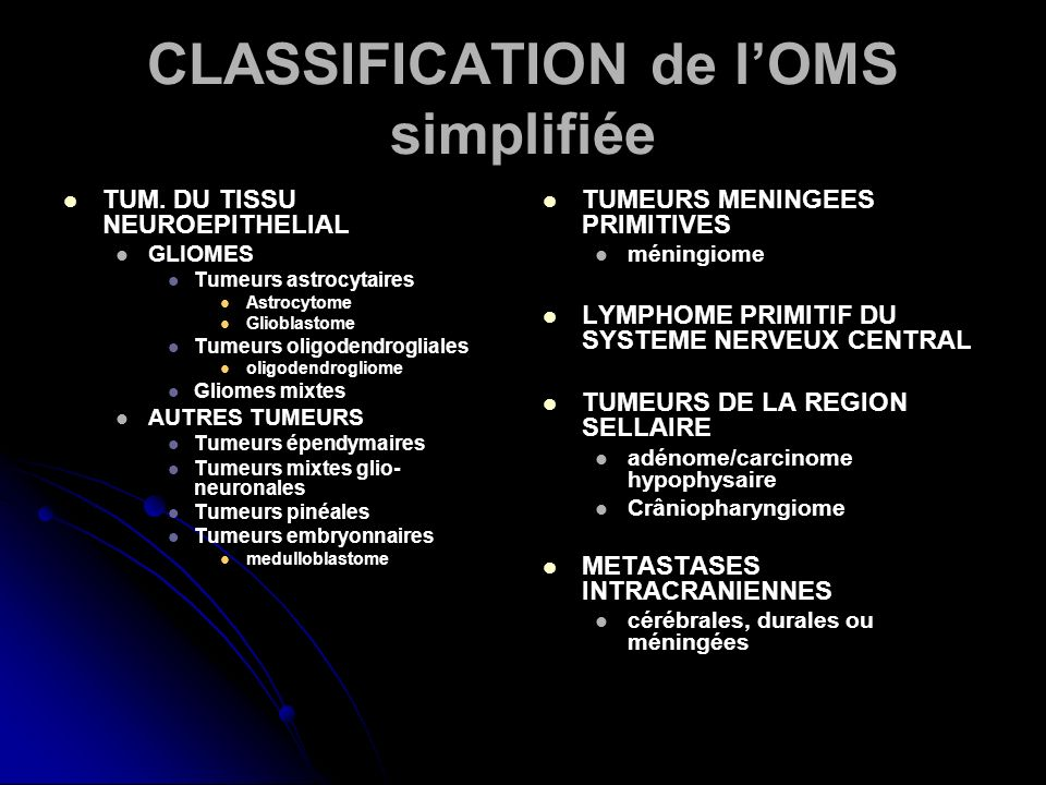 CLASSIFICATION de l'OMS simplifiée