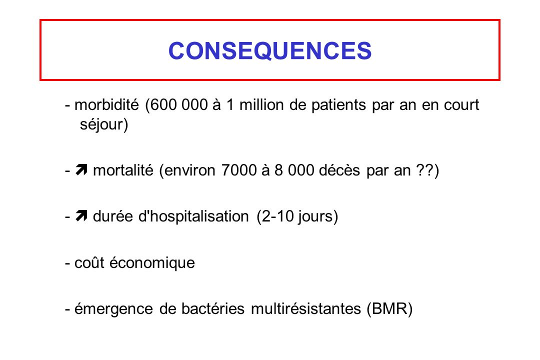 CONSEQUENCES - morbidité (600 000 à 1 million de patients par an en court séjour) -  mortalité (environ 7000 à 8 000 décès par an )