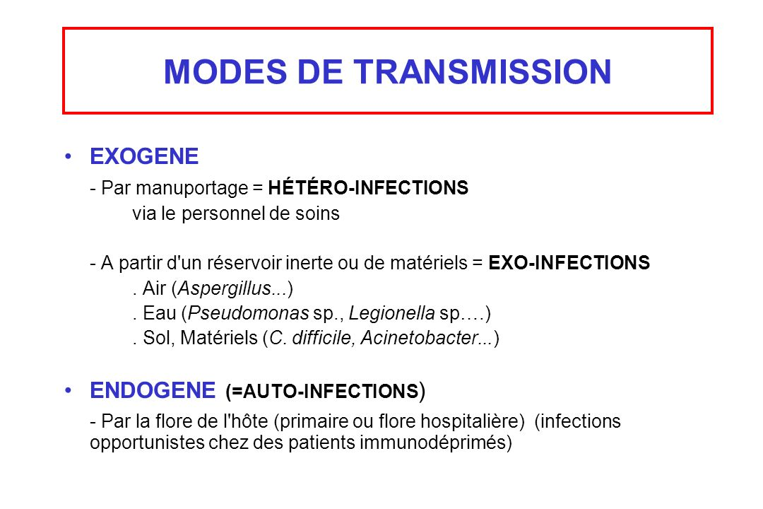 MODES DE TRANSMISSION EXOGENE - Par manuportage = HÉTÉRO-INFECTIONS
