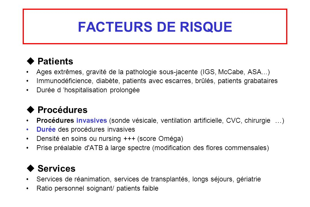 FACTEURS DE RISQUE  Patients  Procédures  Services