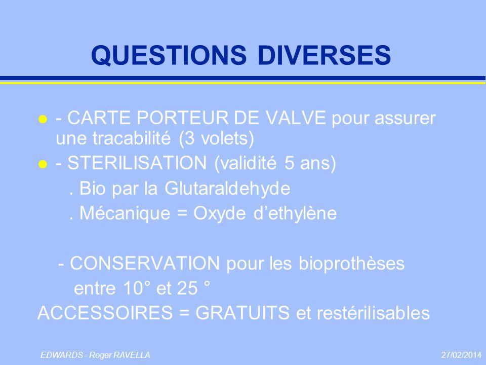 QUESTIONS DIVERSES - CARTE PORTEUR DE VALVE pour assurer une tracabilité (3 volets) - STERILISATION (validité 5 ans)