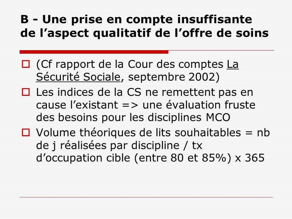 B - Une prise en compte insuffisante de l'aspect qualitatif de l'offre de soins