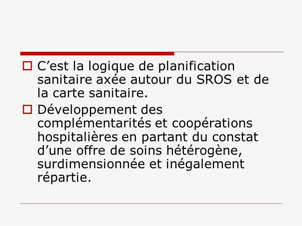 C'est la logique de planification sanitaire axée autour du SROS et de la carte sanitaire.