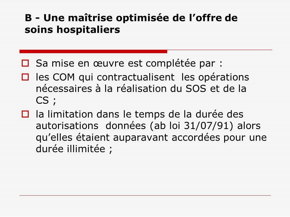 B - Une maîtrise optimisée de l'offre de soins hospitaliers
