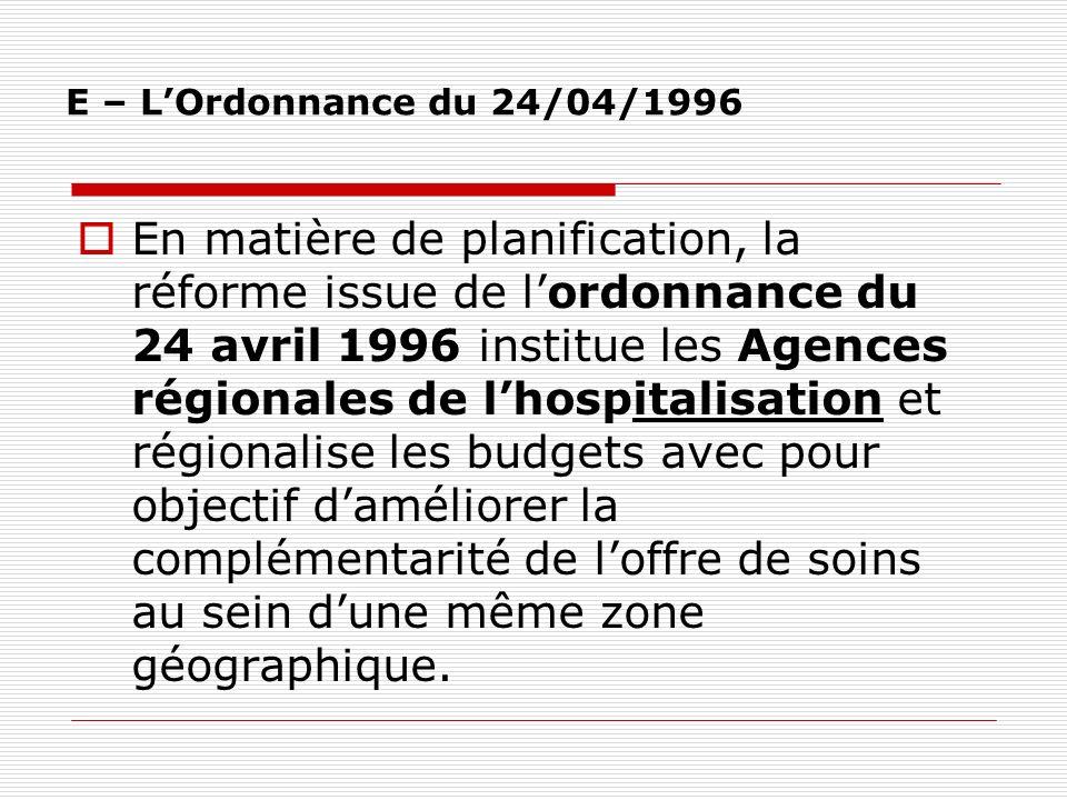 E – L'Ordonnance du 24/04/1996