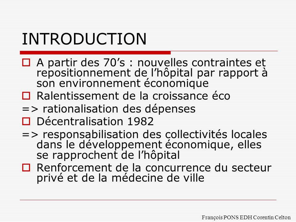 INTRODUCTION A partir des 70's : nouvelles contraintes et repositionnement de l'hôpital par rapport à son environnement économique.