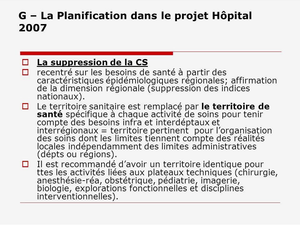 G – La Planification dans le projet Hôpital 2007