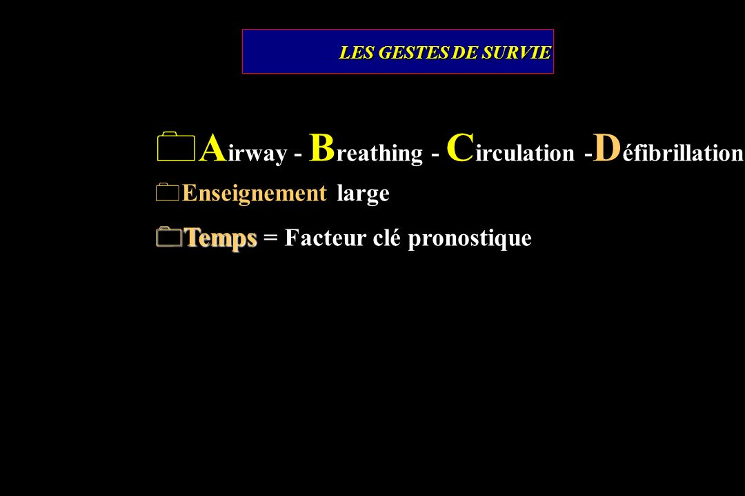 Airway - Breathing - Circulation -Défibrillation