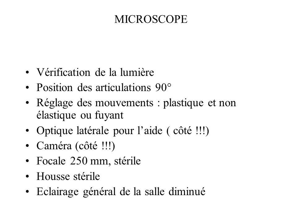 MICROSCOPE Vérification de la lumière. Position des articulations 90° Réglage des mouvements : plastique et non élastique ou fuyant.