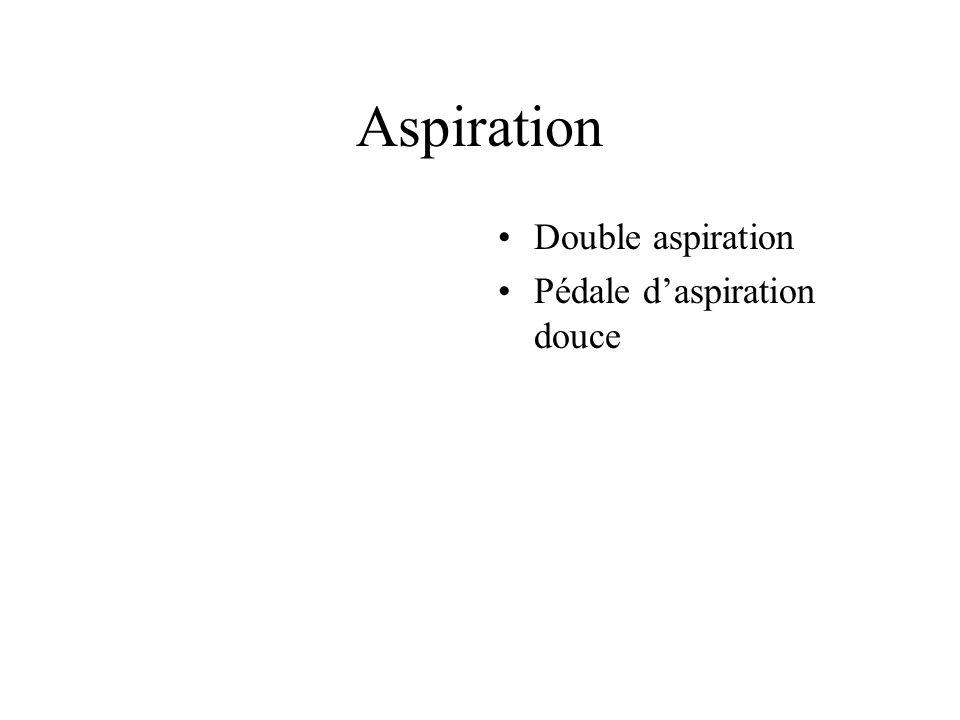 Aspiration Double aspiration Pédale d'aspiration douce