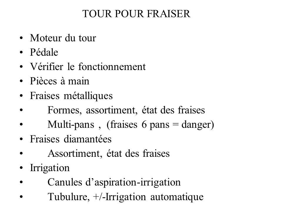 TOUR POUR FRAISER Moteur du tour. Pédale. Vérifier le fonctionnement. Pièces à main. Fraises métalliques.