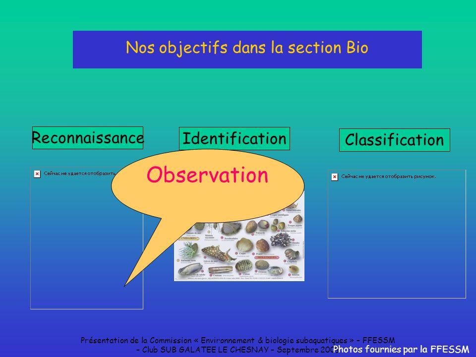 Nos objectifs dans la section Bio