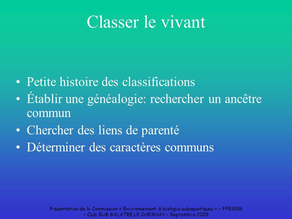 Classer le vivant Petite histoire des classifications