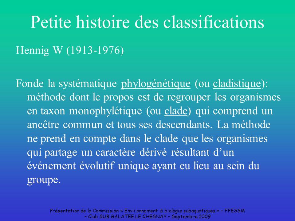 Petite histoire des classifications