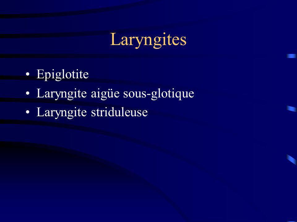 Laryngites Epiglotite Laryngite aigüe sous-glotique