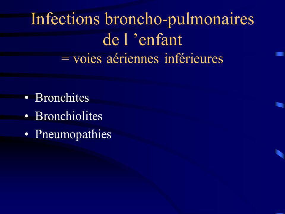 Infections broncho-pulmonaires de l 'enfant = voies aériennes inférieures
