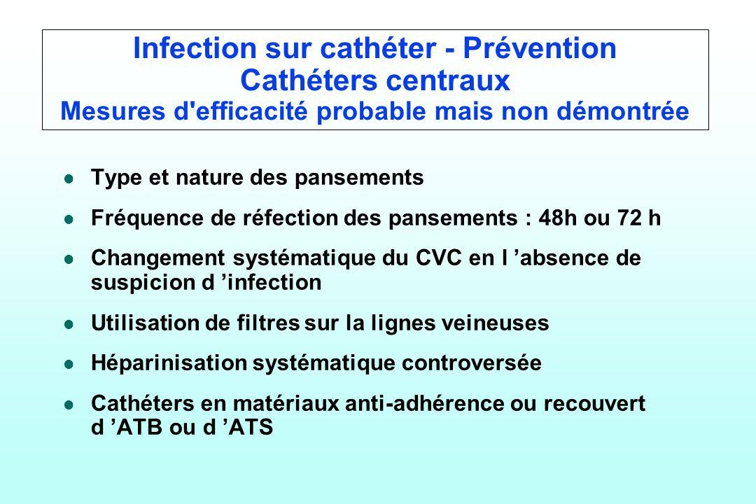 Infection sur cathéter - Prévention Cathéters centraux Mesures d efficacité probable mais non démontrée