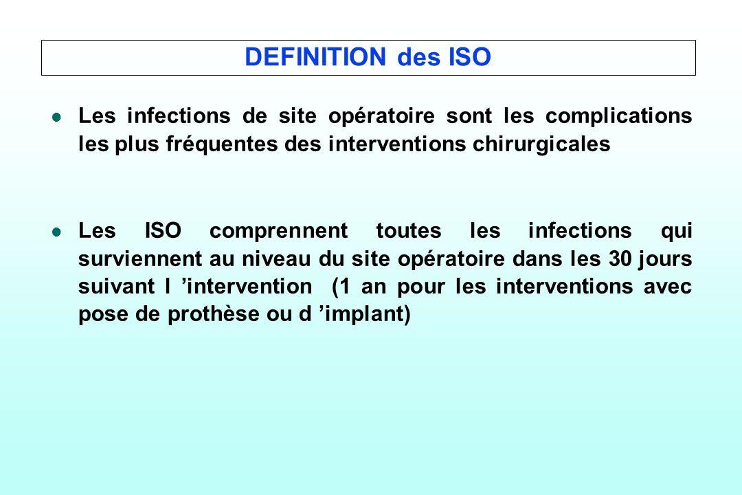 DEFINITION des ISO Les infections de site opératoire sont les complications les plus fréquentes des interventions chirurgicales.