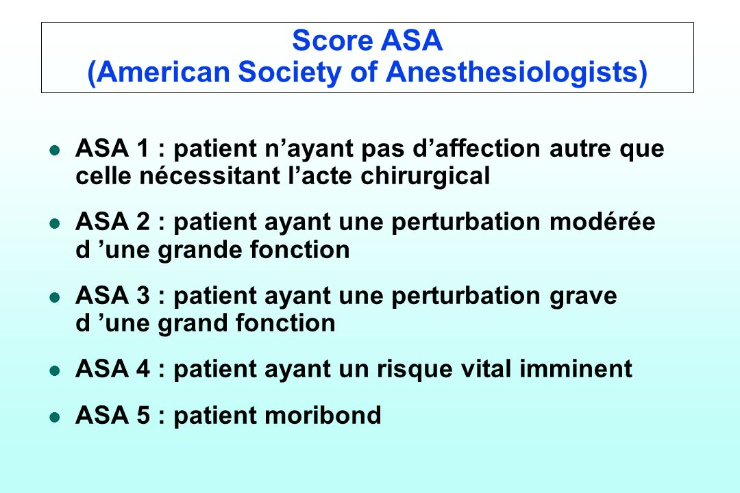 Score ASA (American Society of Anesthesiologists)