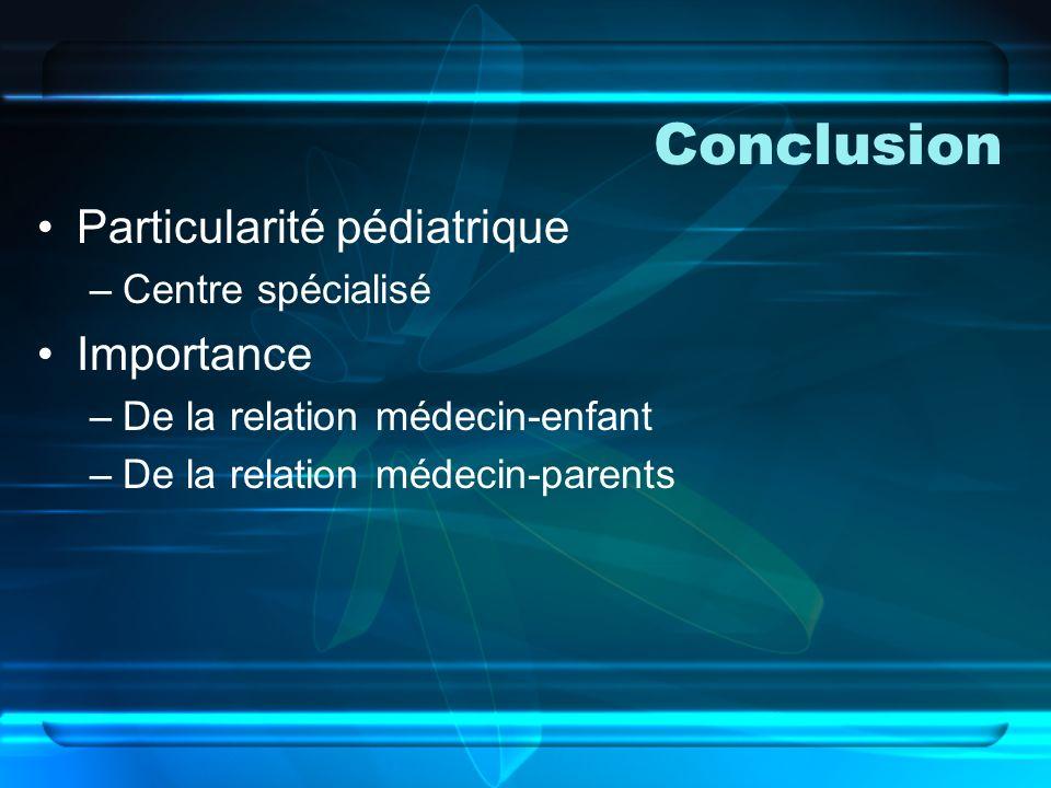 Conclusion Particularité pédiatrique Importance Centre spécialisé
