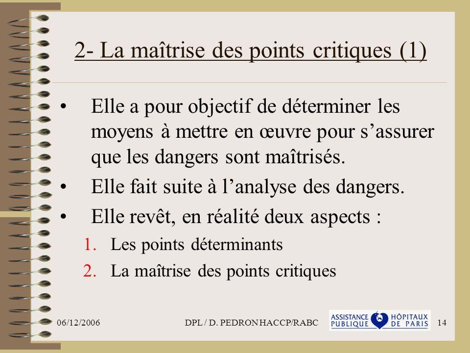 2- La maîtrise des points critiques (1)