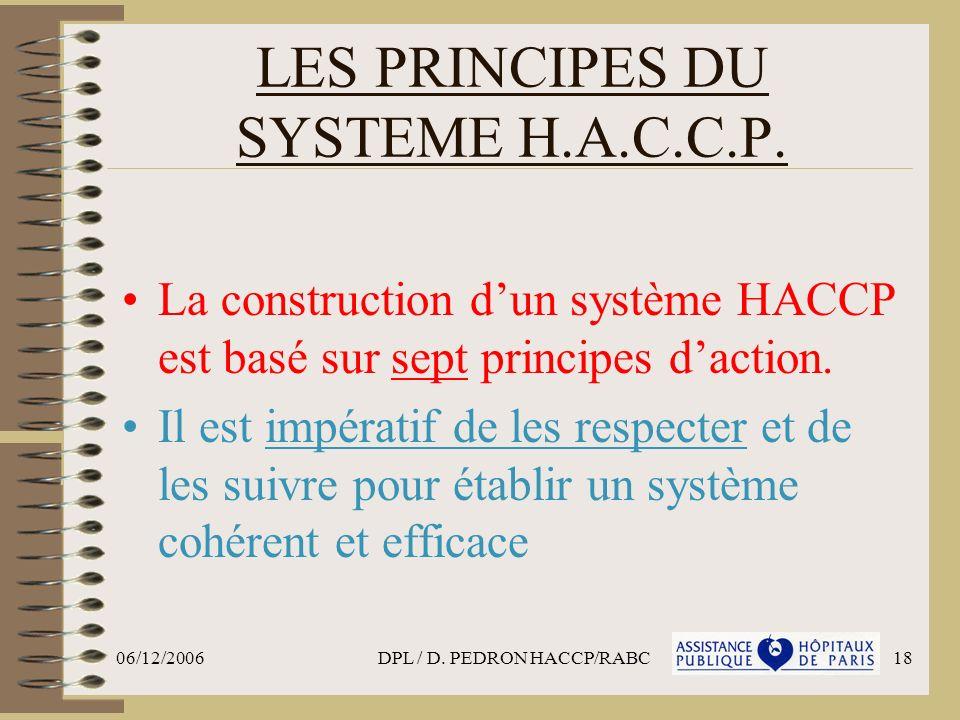 LES PRINCIPES DU SYSTEME H.A.C.C.P.