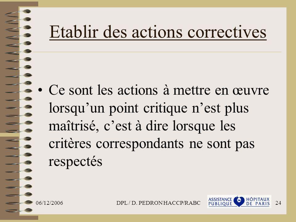 Etablir des actions correctives