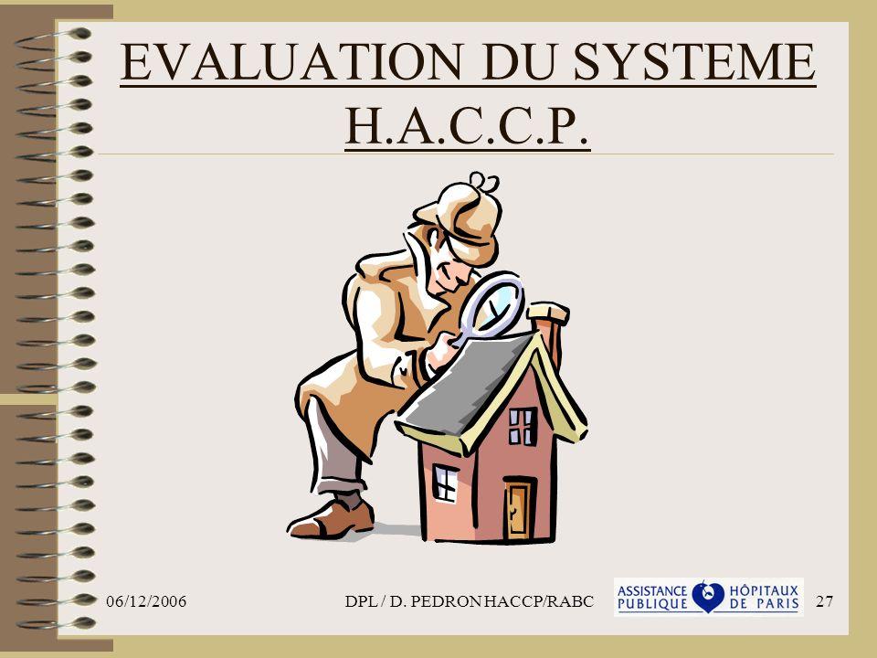 EVALUATION DU SYSTEME H.A.C.C.P.